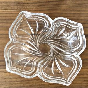 Vintage Clear Crystal Art Glass Fluted Candy Dish